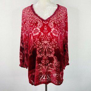 Sundance Blouse Size Large Red Velvet Burnout Flor